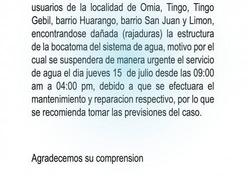 #Atención El día jueves15 de julio, se suspenderá el servicio de suministro de agua