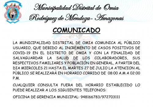 #COMUNICADO La Municipalidad Distrital de Omia, comunica al publico en general, por el incremento de casos positivos de COVID  19 en el distrito de Omia